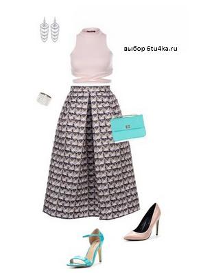 расклешенная юбка-миди с чем носить