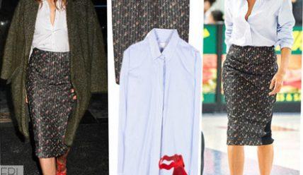 C чем носить юбку-карандаш ниже колена?