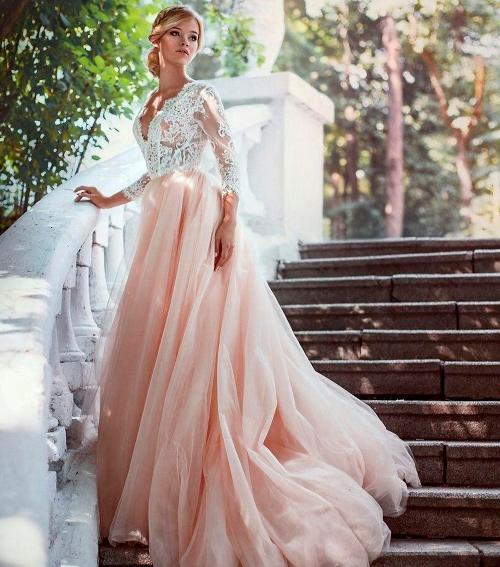 Пудровое платье свадебное