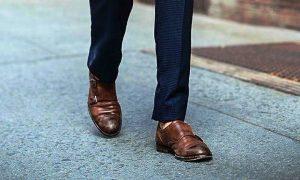 mens black suit brown shoes