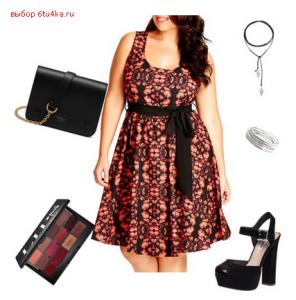 платье с мелким принтом и с завышенной талией