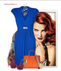 ультрамариновое платье с контрастными аксессуарами