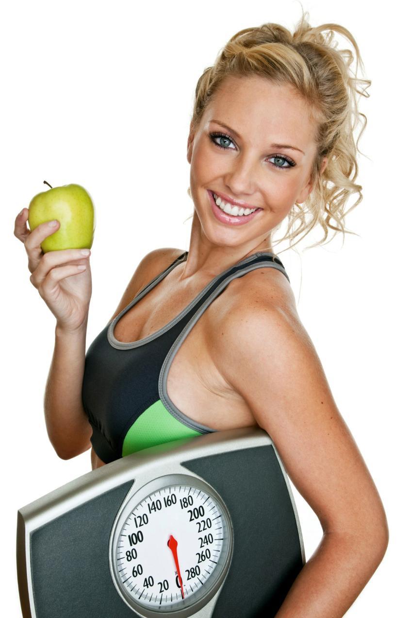 женщина весы яблоко