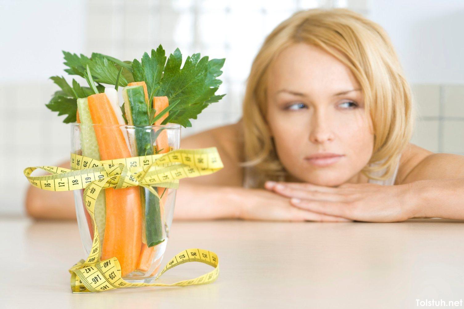 худеющая девушка и овощи