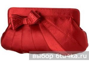 Красный сатиновый клатч от J.Renee