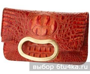 Красный клатч из крокодиловой кожи от Jalda