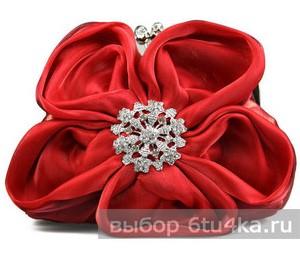 Красный клатч-цветок