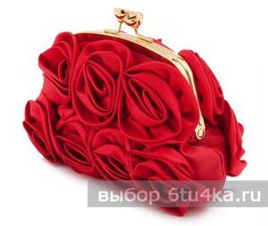 """Сатиновый клатч """"розы"""""""