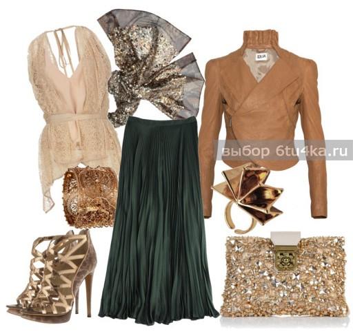 Шикарный вечерний комплект из бархатной длинной юбки, дополненный золотыми украшениями