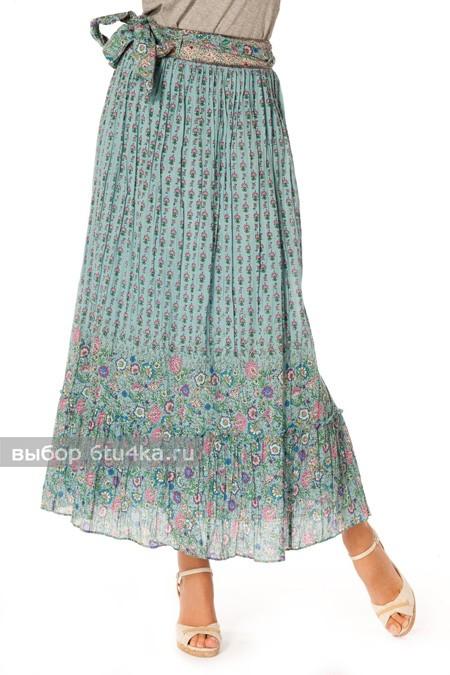 Длинная летняя юбка в мелкий цветочек