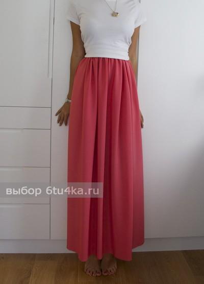 Длинная летняя красная юбка