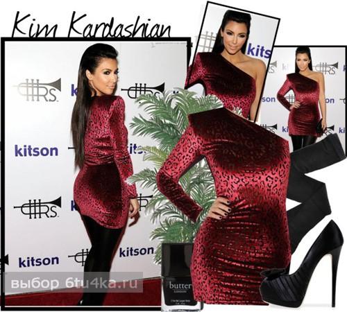 Ким Кардашьян в леопардовом платье