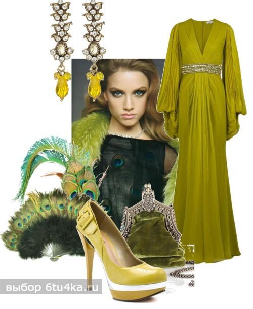 Шикарный наряд на свадьбу: сочетание зеленого и золотого