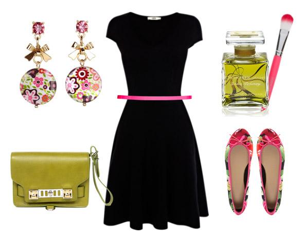 Классическое платье и яркие аксессуары - отличный выбор