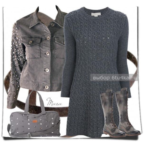Вязаное теплое платье для осени и зимы