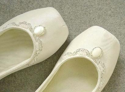 Очень красивые свадебные балетки ручной работы