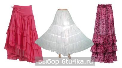 Модели длинных юбок: многоярусные юбки
