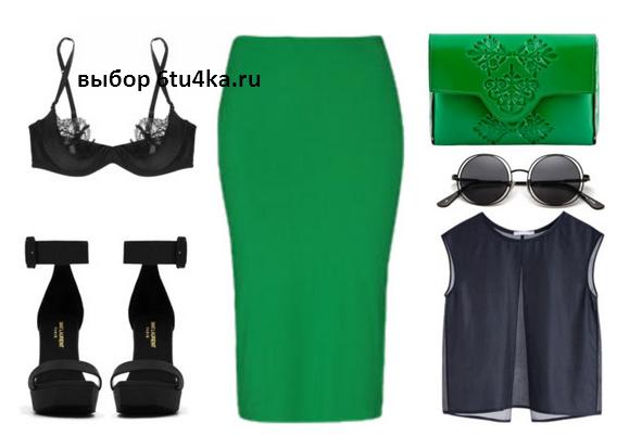 с чем носить зеленую юбку