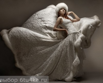 Зимнее свадебное платье, отороченное мехом. Роскошно!