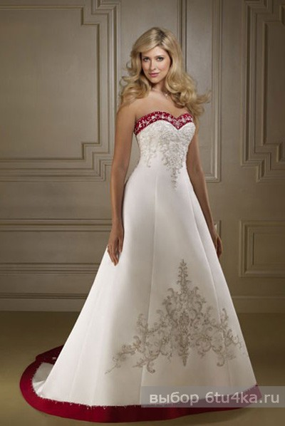 Стильное свадебное платье, отороченное красным